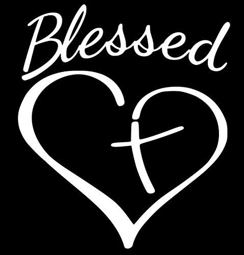 Christian Cross Blessed Heart Sticker Decal Vinyl (5''x4'', White)
