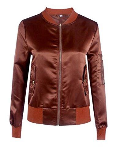 Casual Colore Cappotti Con Semplice Giacca Manica Coffee Zip Cappotto Jacket Giacche Lunga Fit Donna Aivosen Tasche Puro Personalità qBSYZ8