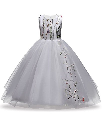 Royal Teenagers Big Girl Princess Embroidery Dress Flower Lace Princess Children Bridemaid Dresses for Wedding Girls Party Prom Sleeveless Size 13 14 Long Lace Embroidery (White, 170)