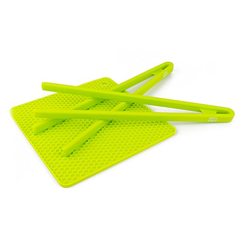 Chic Chef (Green) Serving Set - Includes 2 Food Tongs and Free Silicone Trivet Mat with Your Order! Limited Time Offer! Great for Summer BBQ, Salads and Picnics! (Pure Silicone Grill compare prices)