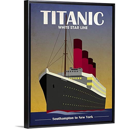 Titanic Ocean Liner Art Deco Black Floating Frame Canvas Art, 14