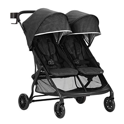 413XvqCB3rL - Evenflo Aero2 Ultra-Lightweight Double Strollers, Compact, Self-Standing Folding Design, Shopping Basket Single-Child Mode, Seatback Storage Pocket, 2 Mesh In-Seat Pockets, 50-lb Per Seat, Osprey Gray