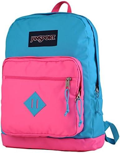 JanSport City Scout Backpack – Mammoth Blue Fluorescent Pink 18H x 13W x 8.5D