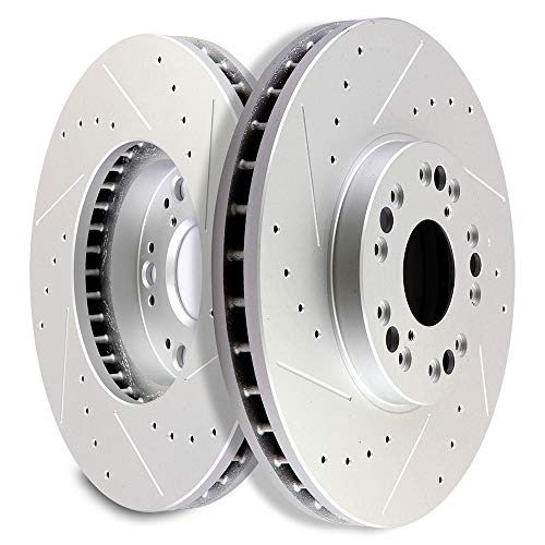 SCITOO Brakes Rotors 2pcs Front Drilled Slotted Discs Brake Rotors Brakes Kit fit Lexus GS300/GS400/GS430/IS300/LS400,1999-2000 Lexus SC300,1992-2000 Lexus SC400,2002-2010 Lexus SC430