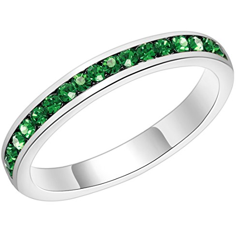 Birthstone Eternity Ring Stackables Swarovski Crystal Women's Jewelry Christmas Gifts (Emerald Green, 7) - Swarovski Emerald Ring