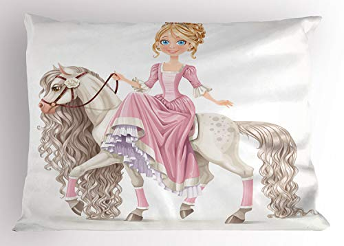 Ambesonne Feminine Pillow Sham, Smiling Princess on a White Horse with a Long Mane Happiness Theme Print, Decorative Standard Size Printed Pillowcase, 26