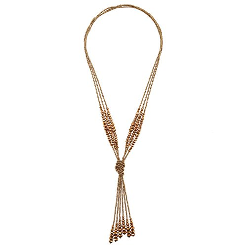 D EXCEED Handmade Jewelry Long Sparkly Knotted Glass Beaded Necklace for Women 28 (Metallic Bronze)