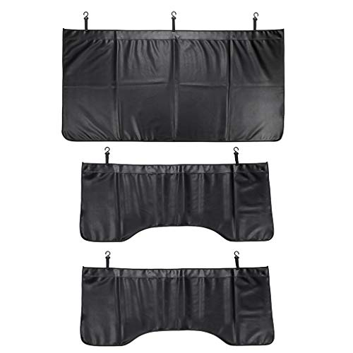 OwnMy 3 PCS Front/Side Lightweight Automotive Mechanic Magnetic Leather Fender Cover Protector Gripper Mat Pad with Hooks for Repair Automotive Work