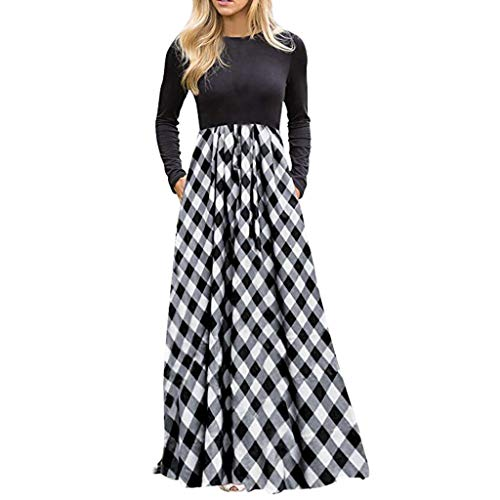 Kshion Women's Dress Plaid Long Sleeve Empire Waist Full Length Ladies Maxi Dress with Pockets (Gray, M)