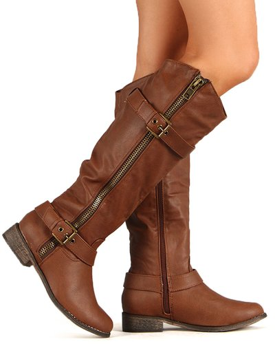 Womens Flat Pirate Boots (Equestrian Riding Zipper Buckle Knee High Vegan Leather Boot Women's)