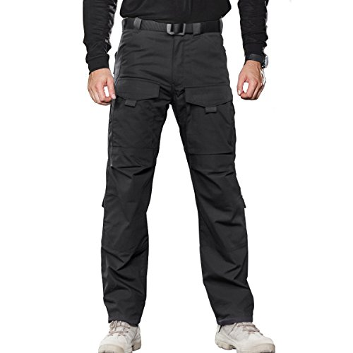 FREE SOLDIER Men's Outdoor Multi Pockets Tactical Pants Cargo Pants(Black 40W/32L) by FREE SOLDIER