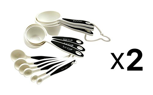 Norpro New Measuring Cup Spoons Set 12 Piece Non Slip Ergonomic Grip 2-Pack