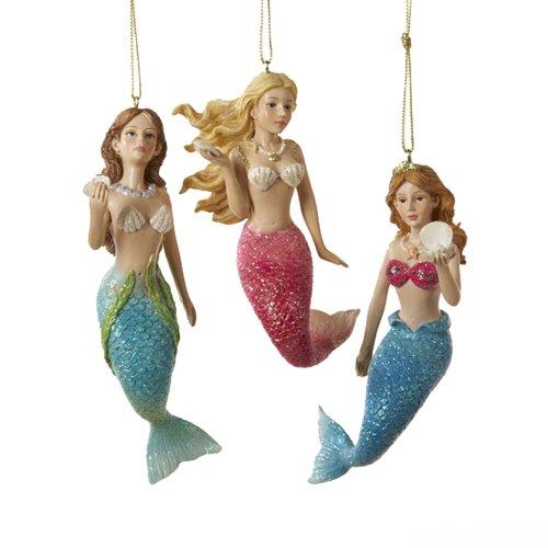 Amazon.com: Kurt Adler 4-1/2-Inch Resin Mermaid Ornament, Set of 3 ...