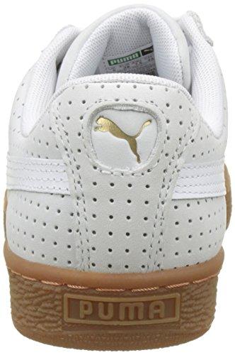 Damen Weiß Puma White Gum Trainers 01 Weiß Gold Puma Basket Heart Perf Gold 6qrd8q
