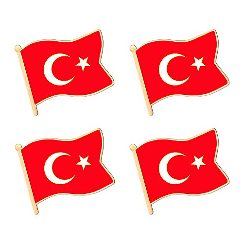 ALEY Turkey Turkish Flag Lapel Pin Decorations (4 Pack)