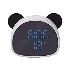 ZhangXF Panda Digital Alarm Clock, Cartoon Led Snooze Ring Alarm Can Be Recorded with Voice Control Alarm Clock Children Student Youth Desk Bedroom Decoration Gift,White