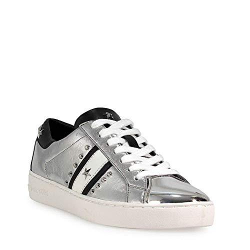 Michael Kors Womens Frankie Stripe Sneaker Leather Low Top, Silver, Size 8.5 (Michael Kors Frankie)