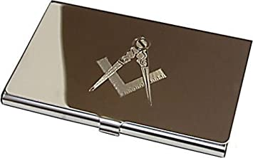 Personalised silver masonic business card holder amazon personalised silver masonic business card holder reheart Image collections