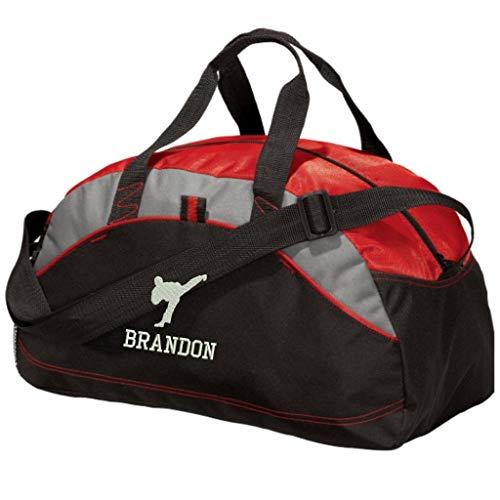 Personalized Karate Taekwondo Duffel Gym Bag - Embroidered (Red) ()