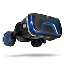 """3D Virtual Reality Headset for 3D Movies and Games - VR Headset with Stereo Headphones and Adjustable Straps for iPhone 6/7 plus Samsung S6 between 4.7"""" - 6 """" Smartphones (Black)"""