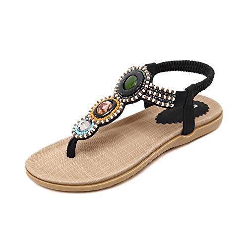 OCHENTA Mujer Thong Sandals Sandalias Bohemia Adorno de Rhinestone Negro
