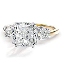 3.67ctw Cushion CZ 3-Stone Engagement Ring Inspired by Meghan & Harry's Royal Wedding in 14K Gold Plating