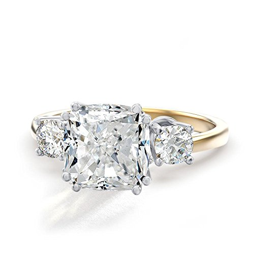 Cushion Cut Center (Samie Collection 3.67ctw Cushion CZ 3 Stone Meghan Markle's Wedding Engagement Ring in 14K Gold Plating)