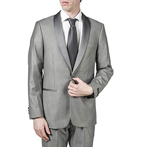 (London Fog Men's L27000-4 Classic Fit Satin Shawl Collar 2-Piece Tuxedo Suit Set - Light Grey -)