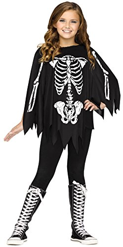 [UHC Girl's Skeleton Poncho Theme Outfit Party Fancy Dress Kids Halloweem Costume (Black/White)] (Dead Clown Girl Costume)