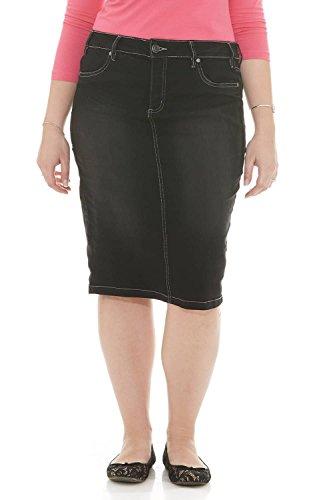 Esteez Jean Skirt for Women Powerstretch Denim Miami Black Stonewash 14