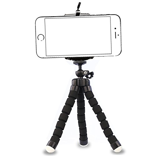 AILUN Phone Tripod,Tripod Mount/Stand,Phone Holder,Small&Light,Compatible with iPhone X/Xs/XR/Xs Max,8/8 Plus,7/7 Plus,6/6s,6/6s Plus,SE/5s/5, Galaxy S7/S6,Note 5/4/3 More Camera&Cellphone[Black]