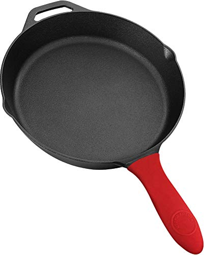 12.5 Inch Pre-Seasoned Cast Iron Skillet with Silicone Handle - Utopia Kitchen by Utopia Kitchen
