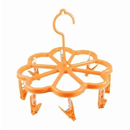 Ropa interior de plástico 8 clavijas bufanda suspensión de ropa del clip de Orange