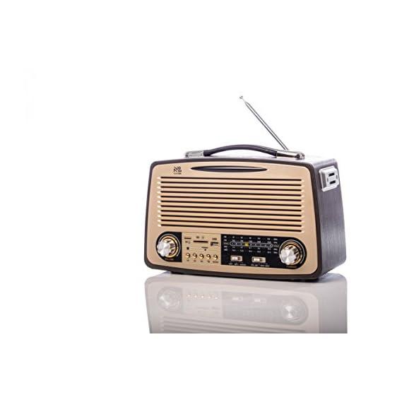 Noizzy Box Retro XL FT-1700BT Vintage Style Speaker with MP3/MP4/FM/Bluetooth/AUX/TF Card/DSP Radio/USB (Beige/Black)