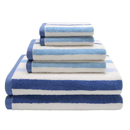 QUEEN HOME TEXTILES Ringspun Cotton Bath Towel Set, 6 Piece Includes 2 Bath Towels, 2 Hand Towels, and 2 Washcloths,Super Absorbent and Soft Hotel & Spa Quality (Stripe Blue)