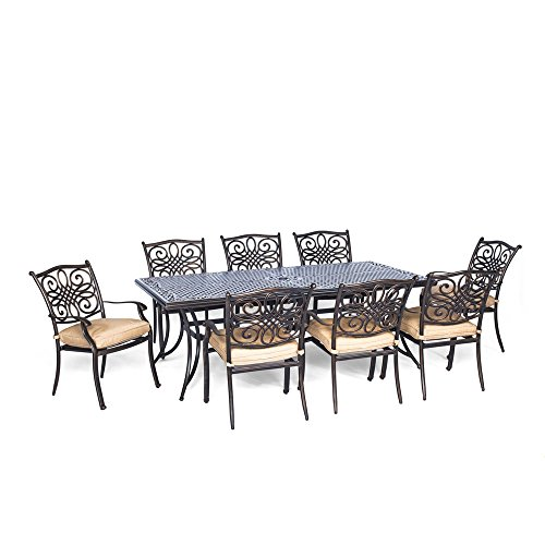 Hanover Traditions 9 Piece Dining Set with Eight Stationary Dining Chairs and an Extra-Long Dining Table (9 Piece Outdoor Dining Furniture)