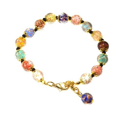 Genuine Venice Murano Sommerso Aventurina Glass Bead Strand Bracelet in Multi, 8+1