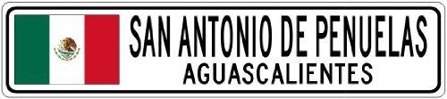 Custom Street SignSAN ANTONIO DE PENUELAS, AGUASCALIENTES - Mexico Flag City Sign - 3x18 Inches Aluminum Metal Sign