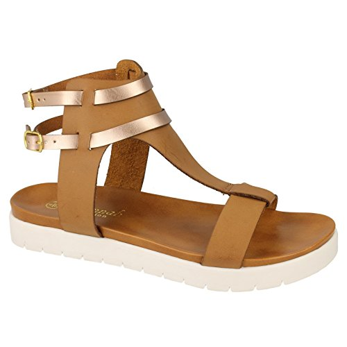 Savannah Damen T-Bar Sandalen Tan/Gold