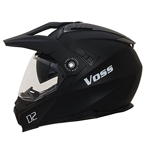 Voss 601 D2 Dual Sport Helmet with Integrated Sun Lens and Ratchet Quick Release System - Large - Matte Black by Voss Helmets (Image #7)