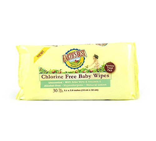 Earth's Best Chlorine Free Baby Wipes Travel Pack, 30 Wipes (Pack of 24)
