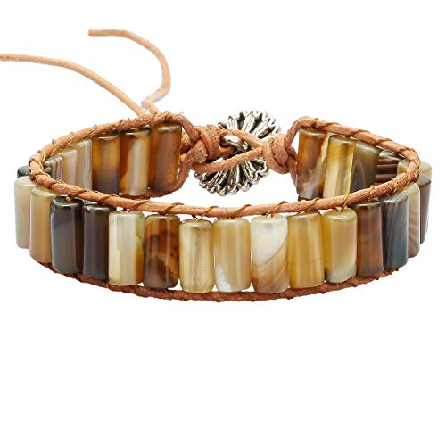TUMBEELLUWA Stone Beads Bracelet Woven with Leather Cord Bohemian Style Healing Crystal Handmade Jewelry for Women Men,Dyed Coffee Agate