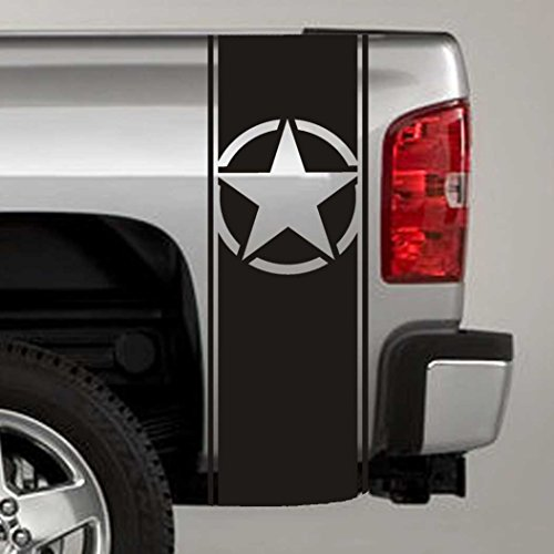 Bed Stripe Decals - Jeepazoid - Truck Bed Stripe Decal - Army Star Universal Fit - Green Sticker - (Pair - Left and Right)