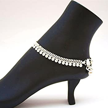 b55104cf7d4dd3 ... Indian Pakistani Ethnic Silver Tone Payal Anklet Pair Curved Edge and  Soft Bells Dance Jewelry lowest  Self-Confidence Women s Black Black Flats  ...
