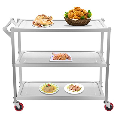 Superland 3 Shelf Utility Cart 264Lbs Stainless Steel Cart with wheels Commercial Bus Cart for Kitchen Commercial Hotel Restaurant Dining Area Utility Serving (3 Shelf with (3 Shelf Bus Cart)
