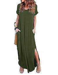 ZIOOER Women's Casual Loose Pocket Long Dress Short Sleeve Split Maxi Dresses