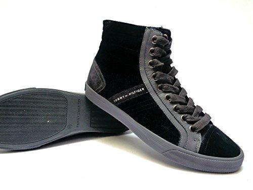 Tommy Hilfiger - Zapatillas de ante para hombre negro negro / azul claro 42