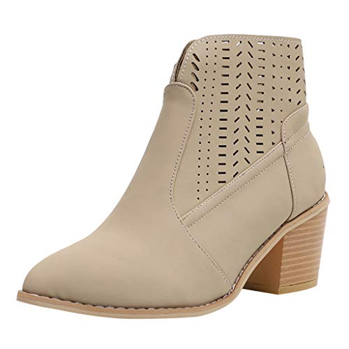 Aniywn Women's Ladies Ankle Short Boots, Solid Leather Hollow Out Shoes Ladies High Heels Boots Beige