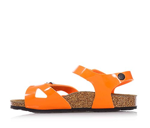 BIRKENSTOCK - Sandale orange en cuir écologique, semelle intérieure en liège, avec boucle, semelle intérieure doublée en suède, enfant (garçon ou fille)-34