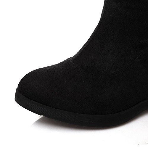 Amoonyfashion Dames Geïmiteerd Suède Mat Ronde Gesloten Teen Mid-calf Hoge Hakken Laarzen Zwart